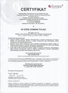 Certyfikat TU Europa 2017